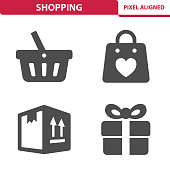 Professional, pixel aligned icons depicting various shopping concepts.