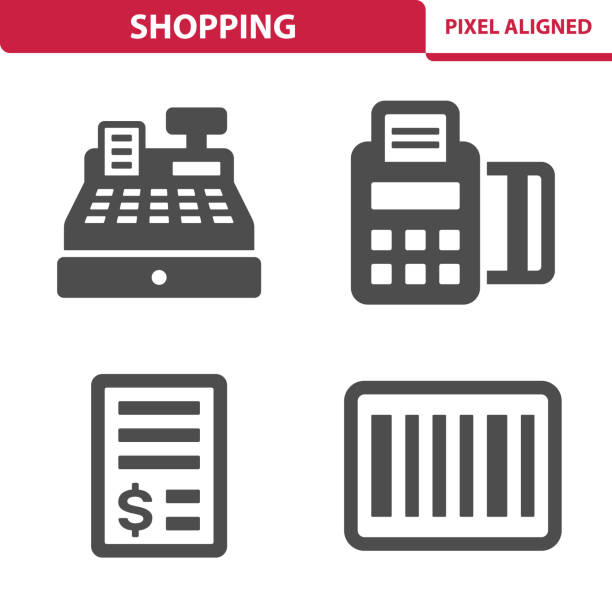 Shopping Icons Professional, pixel aligned icons depicting various shopping concepts. register stock illustrations