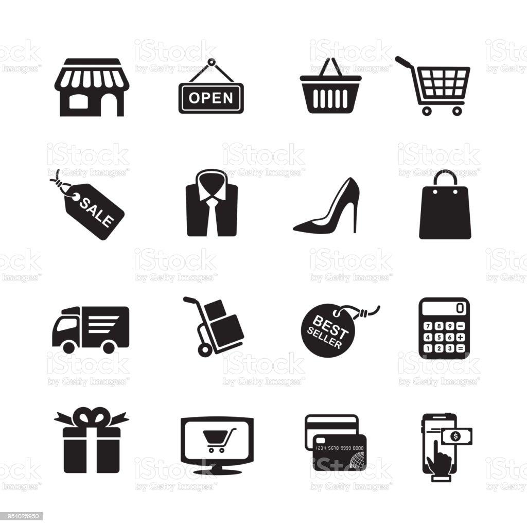 Winkelen pictogrammen - Royalty-free Auto vectorkunst