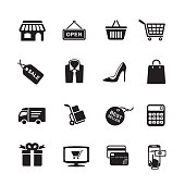 Shopping icons, set of 16 editable filled, Simple clearly defined shapes in one color.