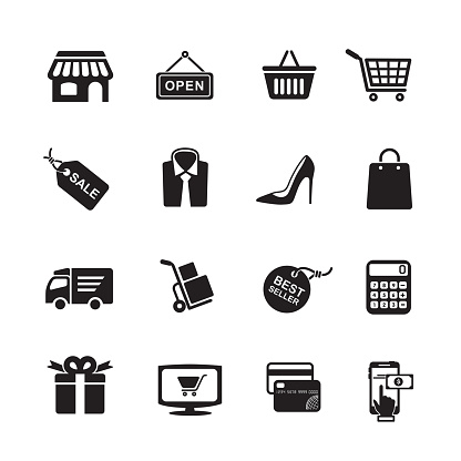 Vetores de Ícones De Compras e mais imagens de Aberto