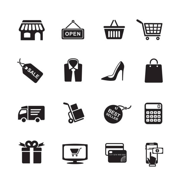 illustrazioni stock, clip art, cartoni animati e icone di tendenza di shopping icons - acquisti