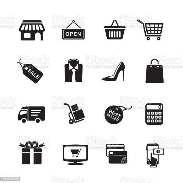 Shopping Icons - Arte vetorial de stock e mais imagens de Aberto