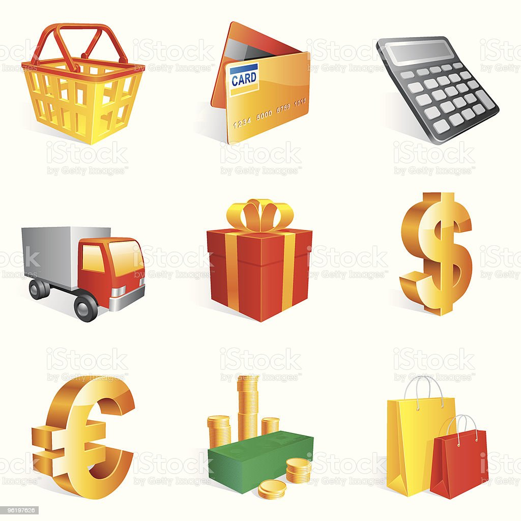Shopping icons. royalty-free stock vector art