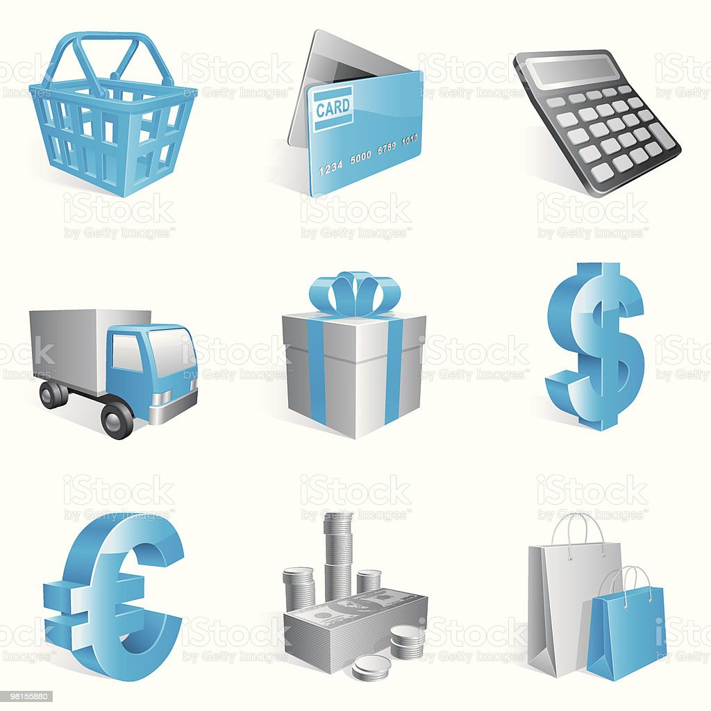 Shopping icons. royalty-free shopping icons stock vector art & more images of bag