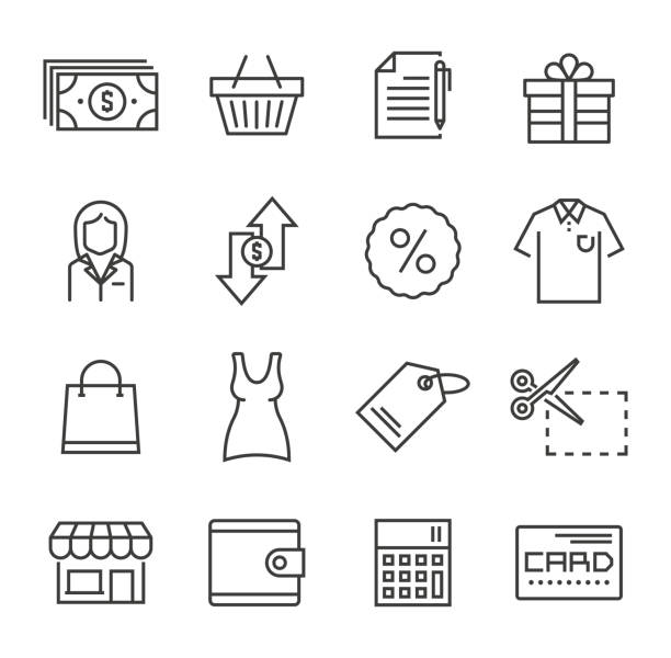 shopping icons - shopping stock illustrations, clip art, cartoons, & icons