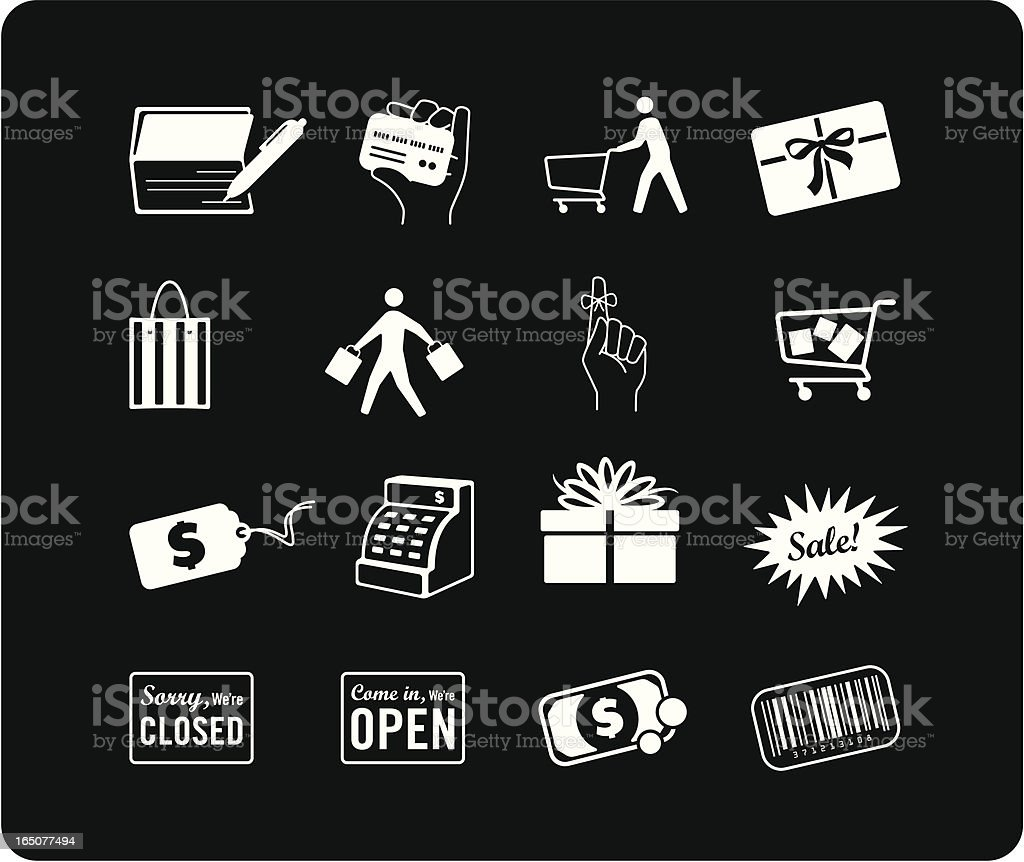 Shopping Icons - White royalty-free stock vector art