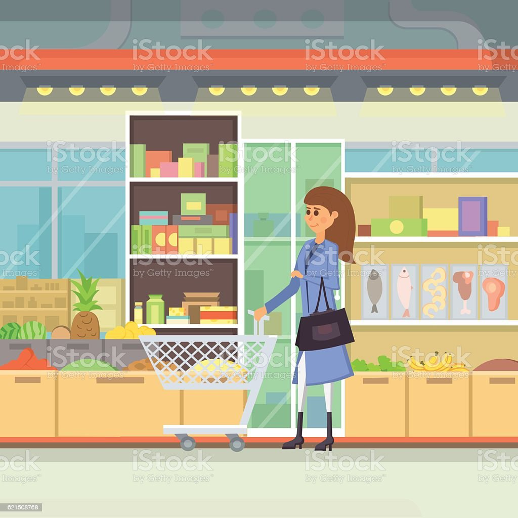 Shopping in a mall cartoon illustration. Peopple in  Centre vector Lizenzfreies shopping in a mall cartoon illustration peopple in centre vector stock vektor art und mehr bilder von ausverkauf