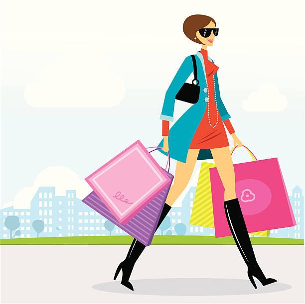 Shopping in der Stadt – Vektorgrafik