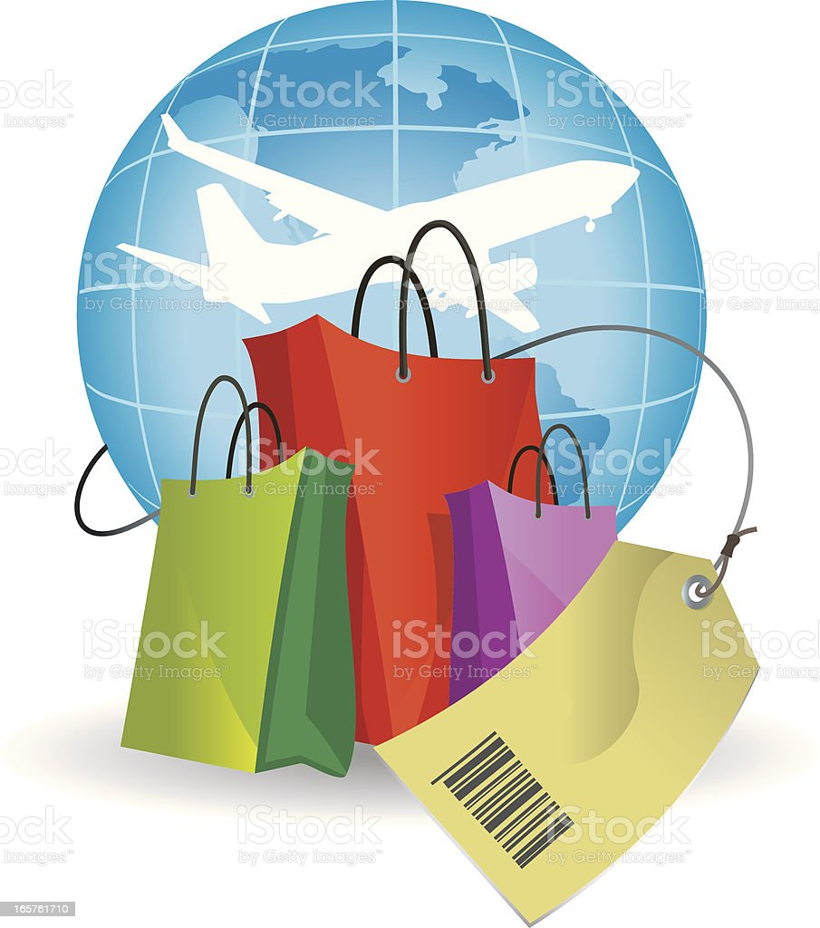 shopping in duty free royalty-free stock vector art
