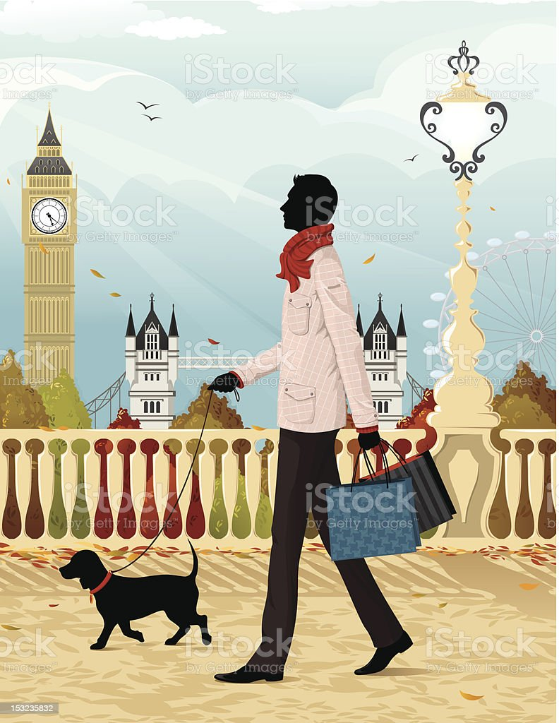 Shopping in London (autumn) vector art illustration