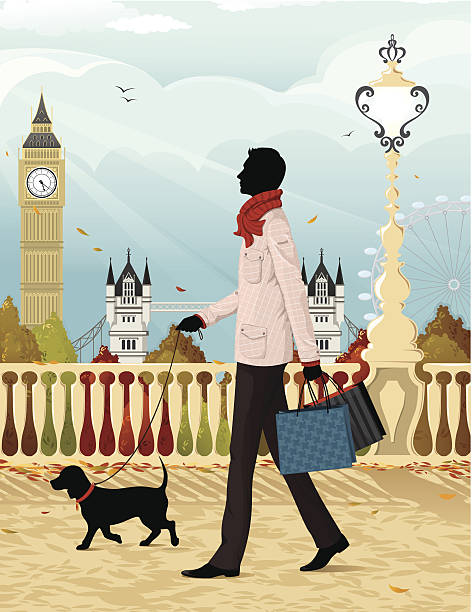 shopping in london (autumn) - london fashion stock illustrations, clip art, cartoons, & icons