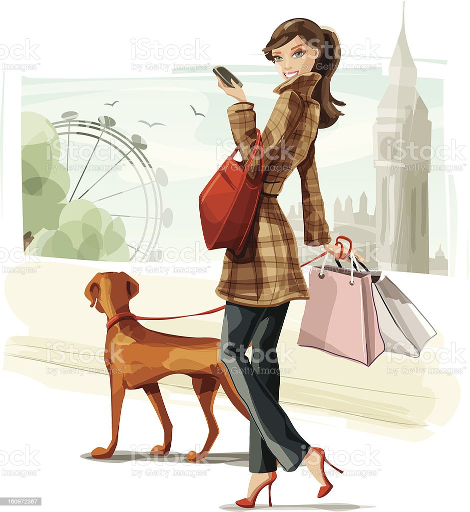 Shopping in London vector art illustration