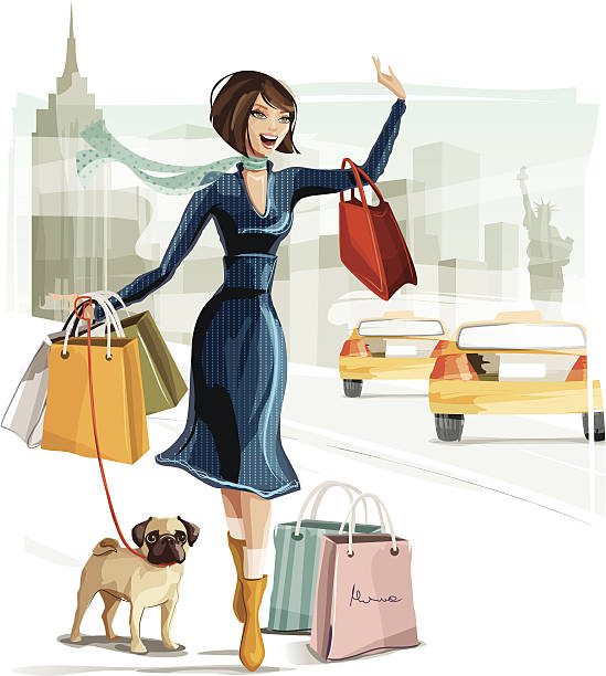 shopping in new york - womens fashion stock illustrations, clip art, cartoons, & icons