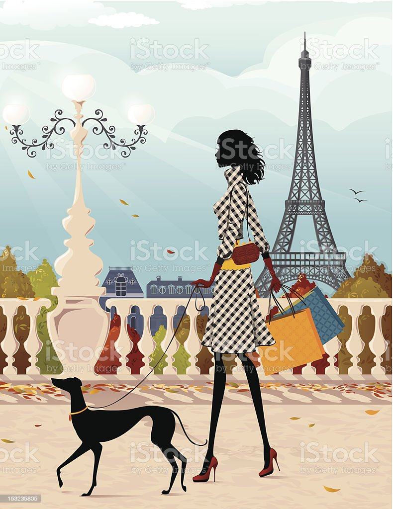 Shopping in Paris (autumn) royalty-free shopping in paris stock vector art & more images of adult