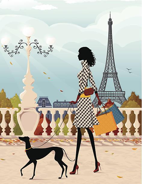 illustrazioni stock, clip art, cartoni animati e icone di tendenza di shopping a parigi (autunno - city walking background