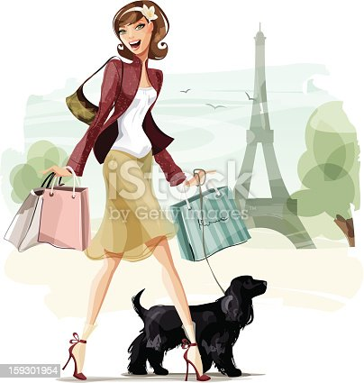 Illustration of a young woman shopping in Paris with a dog. Woman, dog and background are grouped and layered separately.