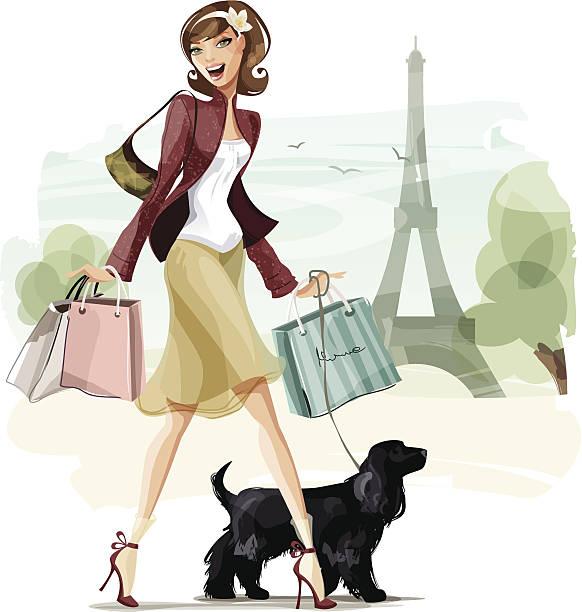 ilustraciones, imágenes clip art, dibujos animados e iconos de stock de compras en parís - moda parisina