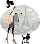 Illustration of a young woman shopping in Paris with a dog. Woman and dog silhouette and background are grouped and layered separately. JPG file in a high resolution also available.