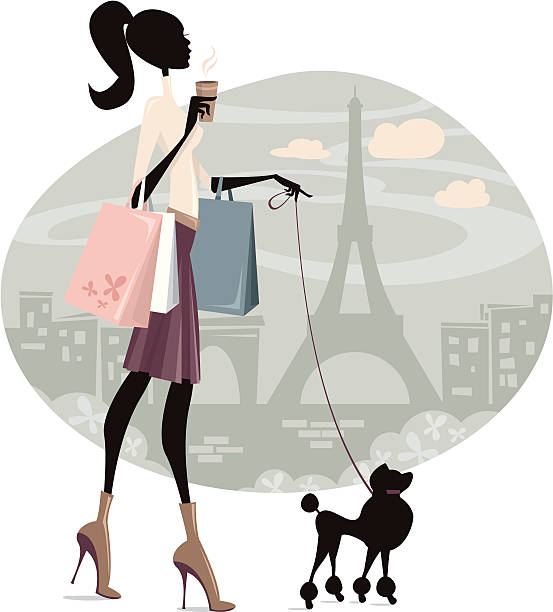 shopping in paris - womens fashion stock illustrations