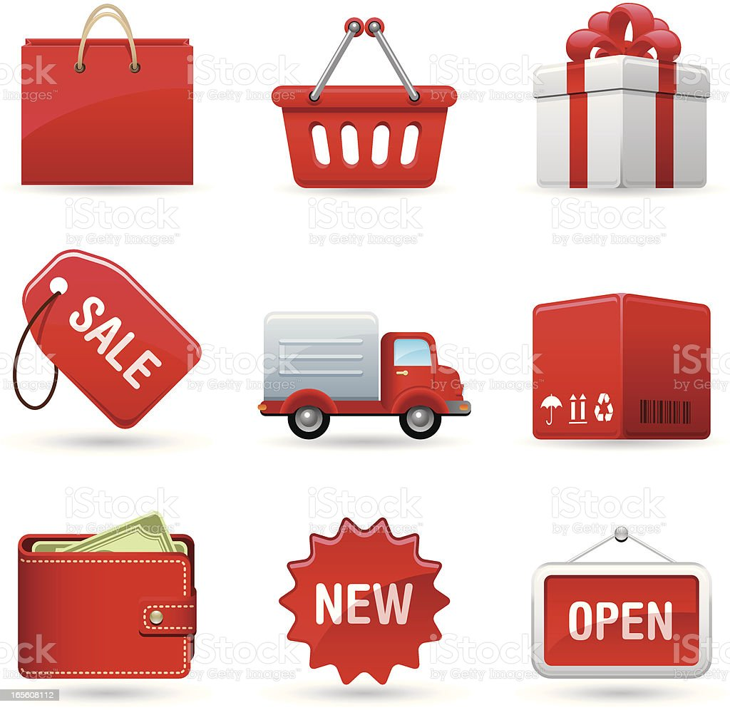 Shopping in red royalty-free stock vector art