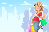 A blond, smiling young woman wearing casual clothes, going shopping in the city. She is carrying a couple of shopping bags and is waving to the camera. In the background are other people, a skyline and a blue cloudy sky. Vector illustration with space for text.
