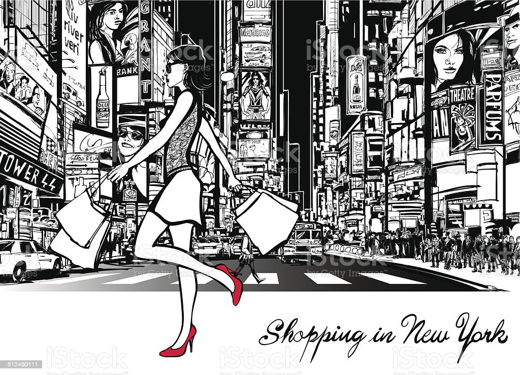 Shopping in Times Square - New York vector art illustration