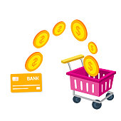 Shopping Infographic Cart Card Credit Shopping Concept Vector Image