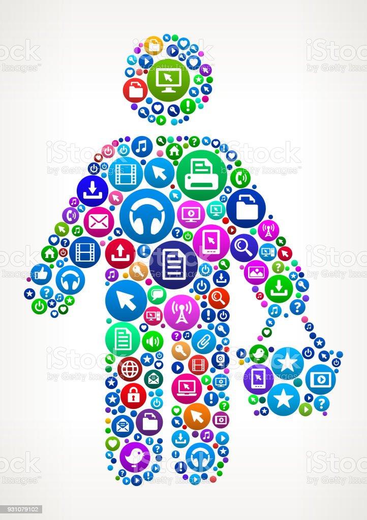 Shopping Internet Communication Technology Icon Pattern vector art illustration