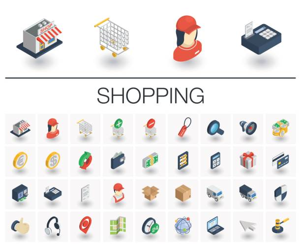 shopping isometric icons. 3d vector - 3d icons stock illustrations, clip art, cartoons, & icons