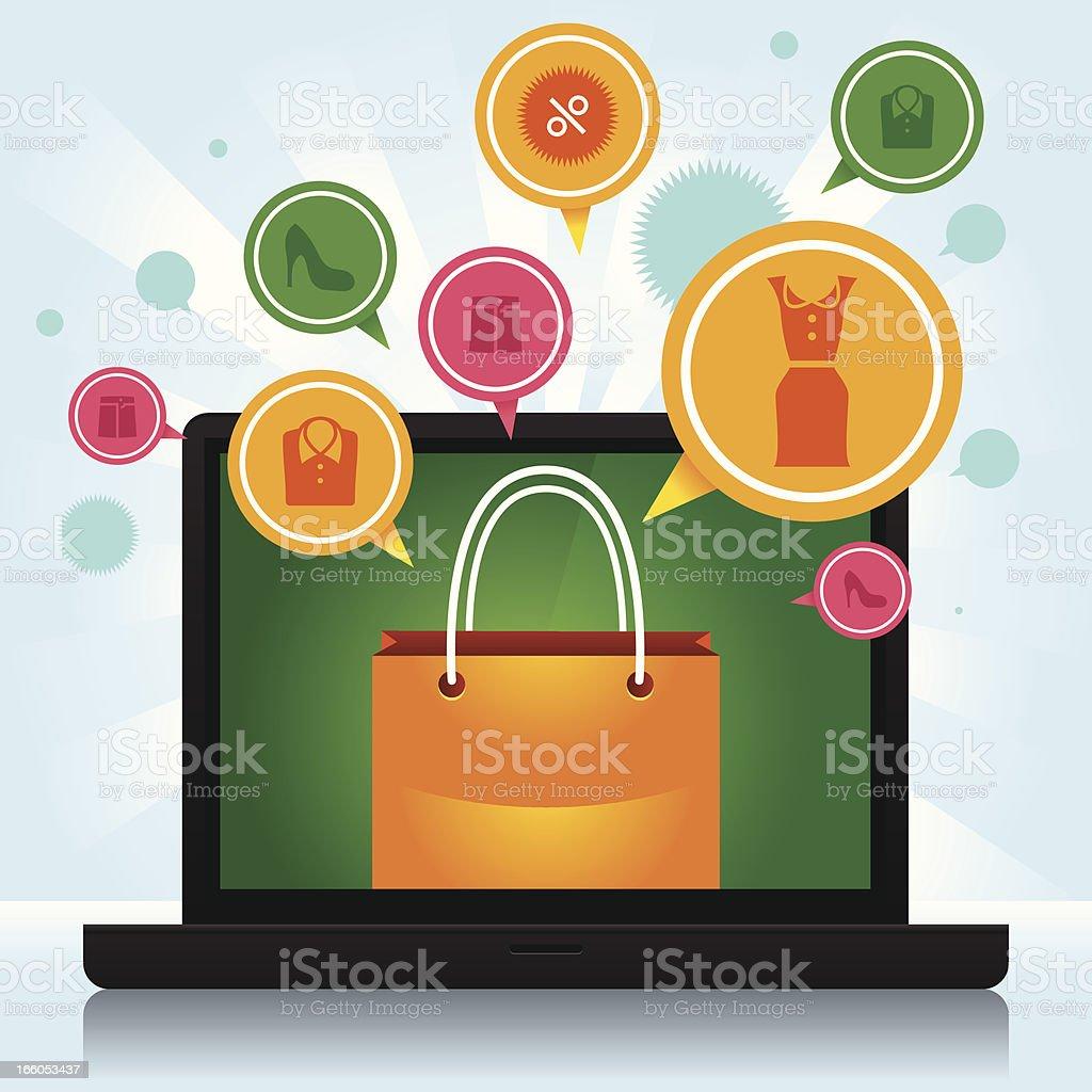 Shopping laptop royalty-free stock vector art