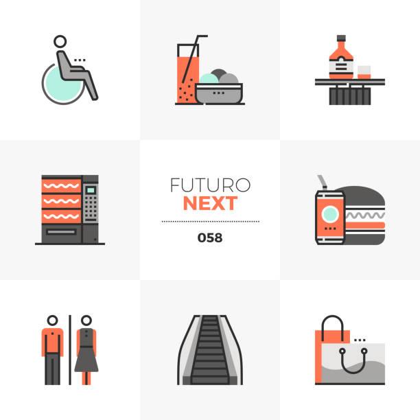 shopping leisure futuro next icons - empty vending machine stock illustrations