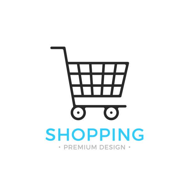shopping line icon. ecommerce, e-commerce concepts. black vector shopping cart icon - kosz na zakupy stock illustrations