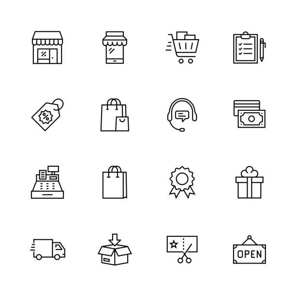 ilustrações de stock, clip art, desenhos animados e ícones de shopping line icon set - online shopping