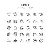 Set of shopping line vector icons. Editable stroke.