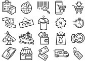 Shopping Line Icons Set 03