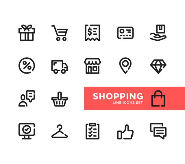 ilustrações de stock, clip art, desenhos animados e ícones de shopping line icons set. pixel perfect. modern outline symbols collection. thin line design. minimal style. simple linear stroke graphic design elements. vector line icons - online shopping