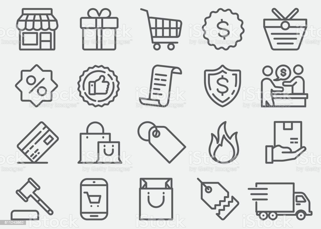 Shopping Line Icons vector art illustration
