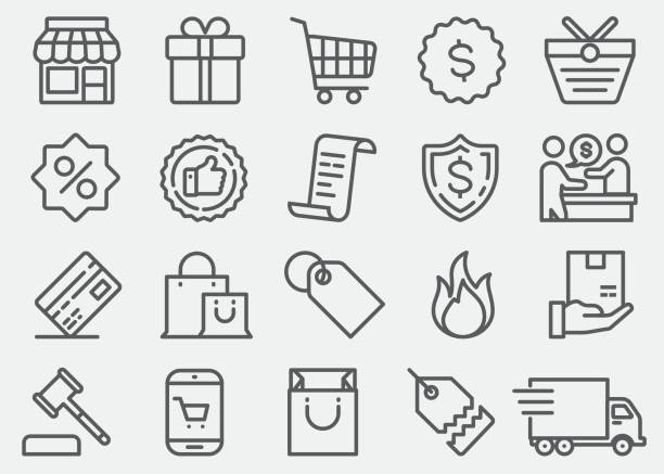 shopping line icons - sales stock illustrations