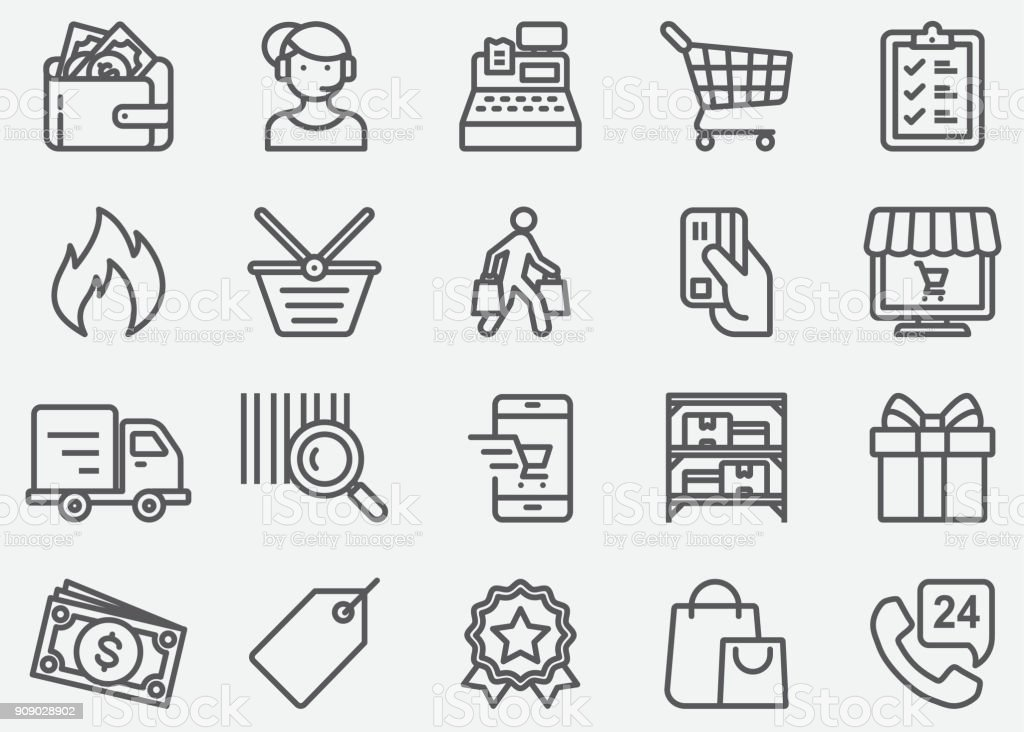 Shopping Line Icons Shopping Line Icons 24 Hrs stock vector