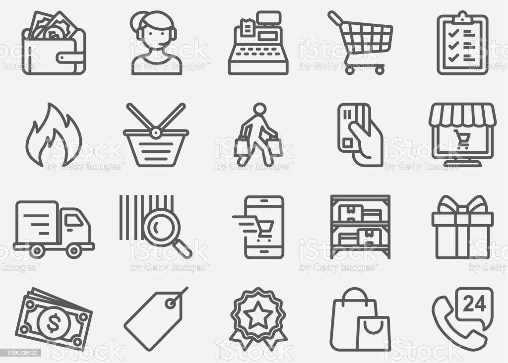 Shopping Linie Symbole – Vektorgrafik