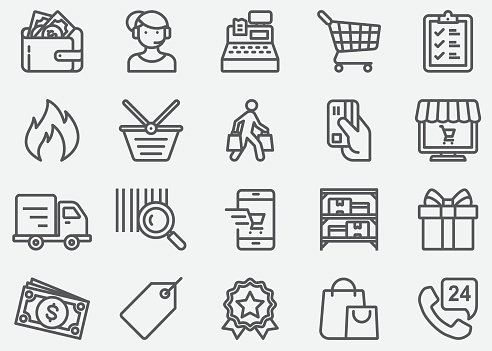Shopping Line Icons Stock Illustration - Download Image Now