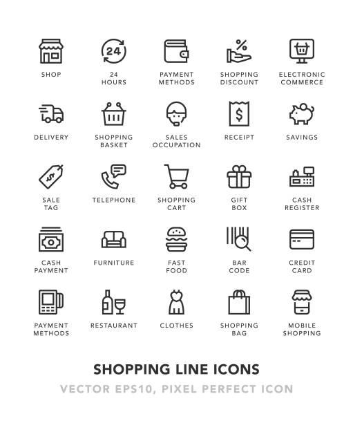 shopping linie symbole - kassenbon stock-grafiken, -clipart, -cartoons und -symbole