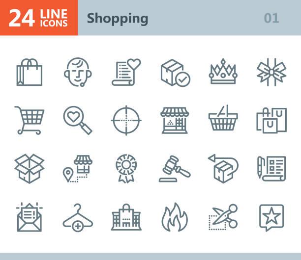 shopping - line vector icons - kosz na zakupy stock illustrations