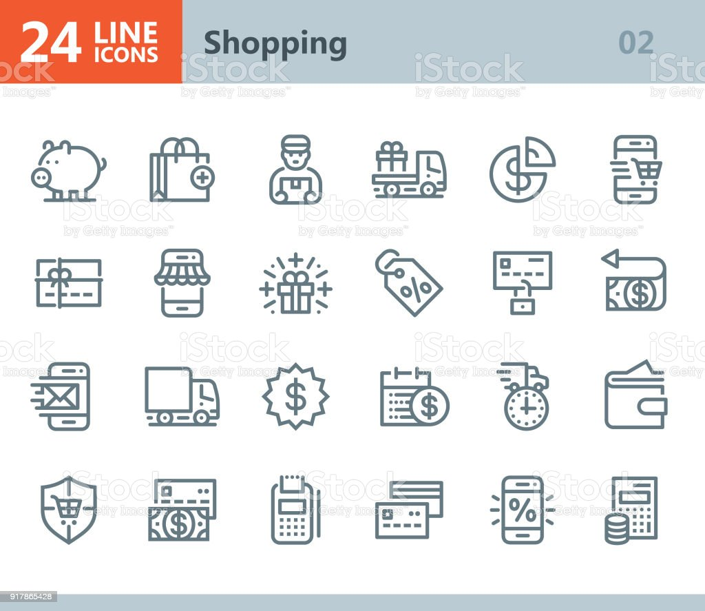 Shopping - line vector icons vector art illustration