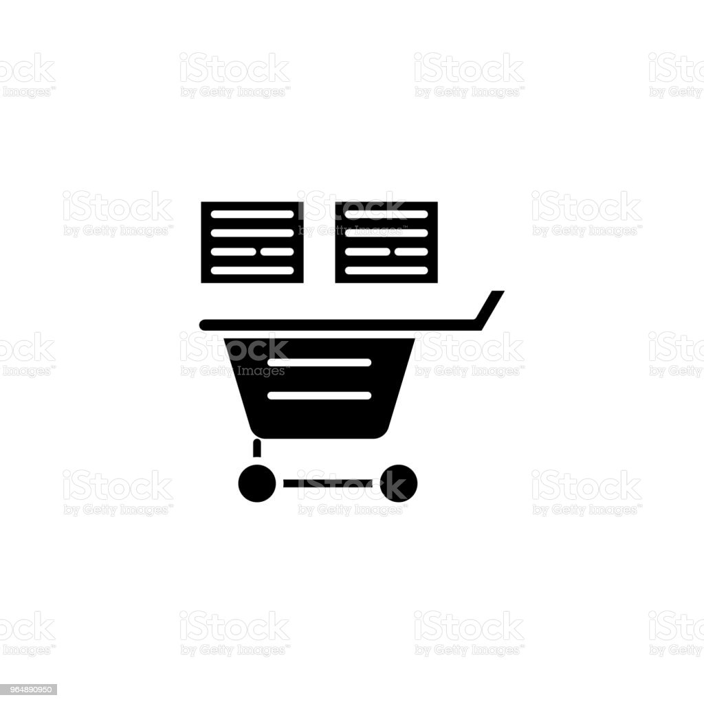 shopping list black icon concept shopping list flat vector symbol sign illustration