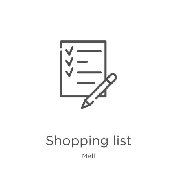 shopping list icon vector from mall collection. Thin line shopping list outline icon vector illustration. Outline, thin line shopping list icon for website design and mobile, app development. shopping list icon. Element of mall collection for mobile concept and web apps icon. Outline, thin line shopping list icon for website design and mobile, app development shopping list stock illustrations