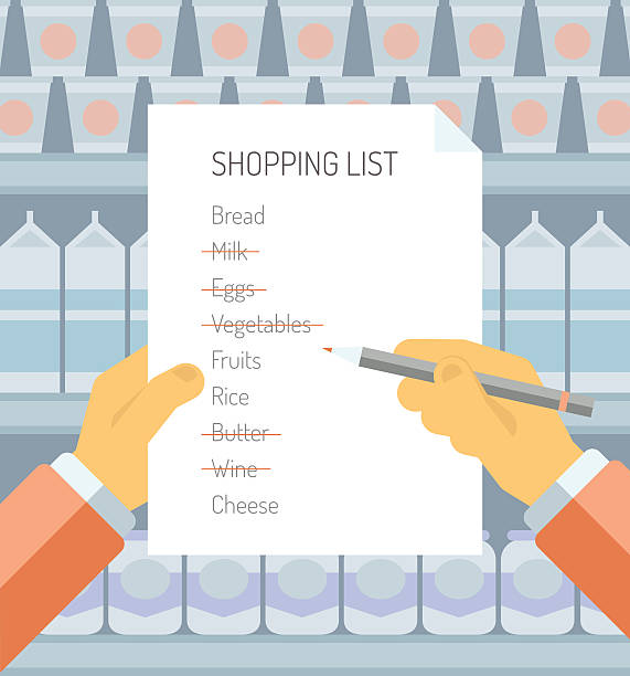 Shopping list in supermarket flat illustration Flat design style modern vector illustration concept of person holding shopping  list of items needed to be purchased in a supermarket with abstract product shelves on the background. shopping list stock illustrations
