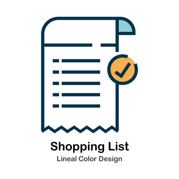 Shopping List Lineal Color Illustration Shopping List Lineal Color Vector Illustration shopping list stock illustrations
