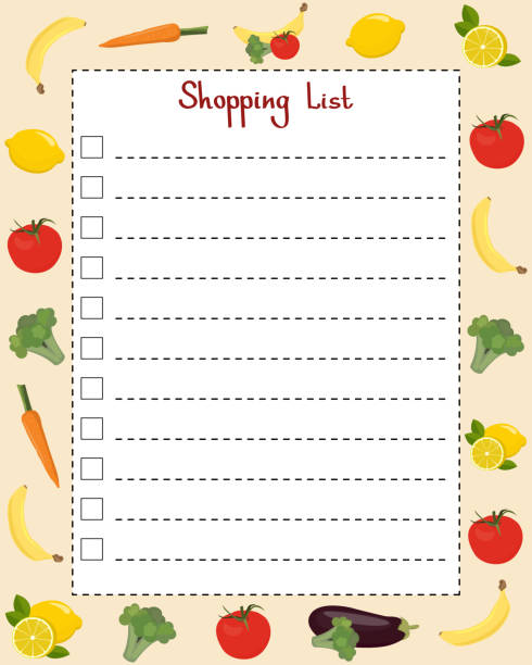 Shopping list. Page template with lines for writing a shopping list. Vector illustration with vegetables and fruits Shopping list. Page template with lines for writing a shopping list. Vector illustration with vegetables and fruits shopping list stock illustrations